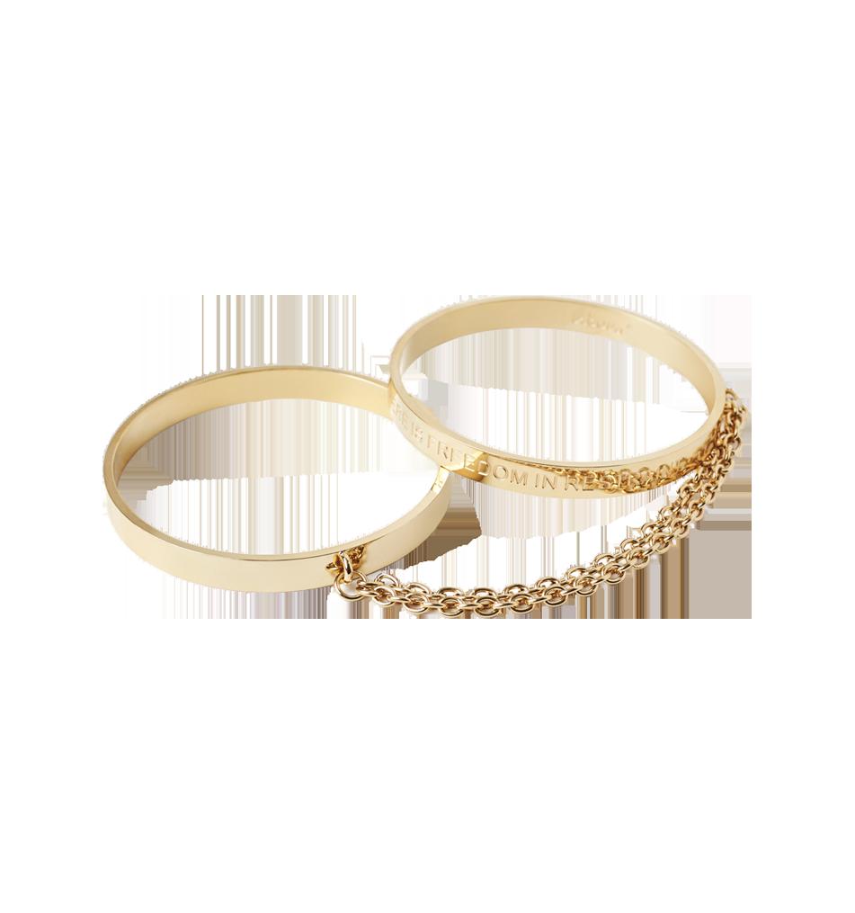 Cleo Bangle Cuffs guldarmband och handbojor från Unbound för BDMS sex